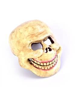 "Drevená maska, ""Laughing Scull"", maľovaná, 23x20cm"