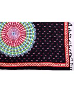 Čierny sarong, kvetinový design, 110x160cm