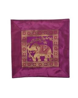 Ružový povlak na vankúš, slon, bohatá zlatá výšivka, 40x40cm