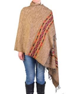 Veľký zimné šál s geometrickým vzorom, béžový, 205x90cm