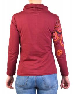 Vínovej tričko s dlhým rukávom a golierom, mandala dizajn