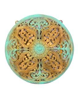 Mandala ručne vyrezávaná z mangového dreva, tyrkysovo-zlatá patina, 107x7x107cm