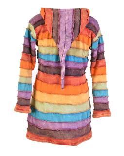 Predĺžená multifarebná mikina s kapucňou, rainbow dizajn zips, vrecká, podšívka