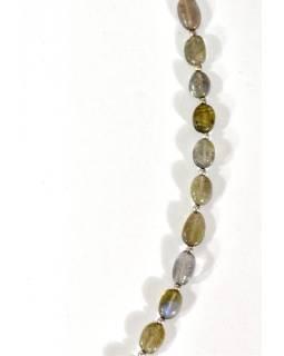 Zapínacie náhrdelník s korálkami z labradoritu, postriebrený (10μm), 44cm