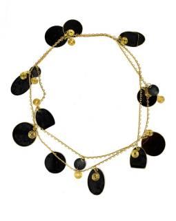 Dlhý náhrdelník s čiernymi a zlatými kolieskami, zlatý kov