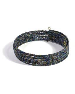 Kruhový náhrdelník ze skleněných korálků, 10 řad, metalický