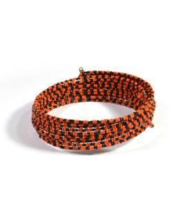 Kruhový náhrdelník ze skleněných korálků, 10 řad, oranžovo černý