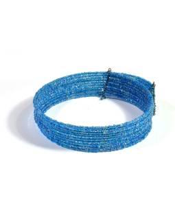 Kruhový náhrdelník ze skleněných korálků, 10 řad, tyrkysový
