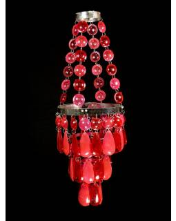 Ozdobný plastový lustr - stínidlo, růžovo červené korálky, 53cm