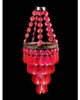 Ozdobný plastový lustr - stínidlo, růžové korálky, 61cm