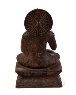 Drevená socha Budhu z južnej Indie, rain tree wood, 16x10x29cm