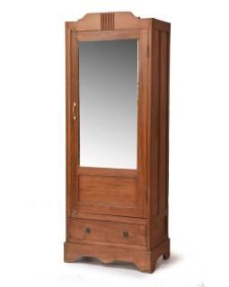 Šatníková skriňa so zrkadlom vyrobená z teakového dreva, 66x42x180cm