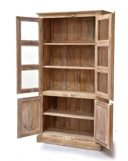 Presklená skriňa vyrobená z teakového dreva, 96x40x180cm