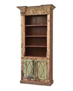 Knižnica vyrobená zo starého portálu, teakové a mangové drevo, 101x47x218cm