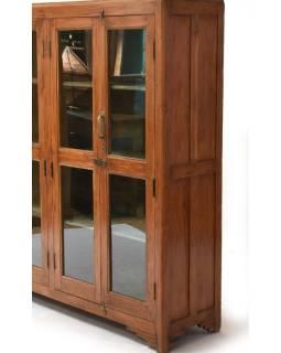 Presklená skriňa vyrobená z teakového dreva, 150x38x151cm