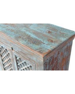 Stará komoda z mangového dreva, drevená mreža, tyrkysová patina, 167x43x111cm