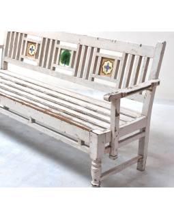 Lavička z teakového dreva zdobená starými dlaždicami, 188x54x92cm