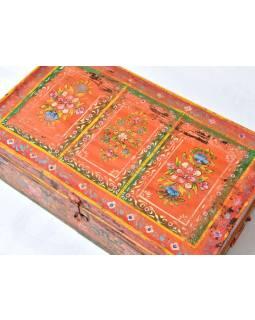 Plechový kufor, ručne maľovaný, 77x45x30cm
