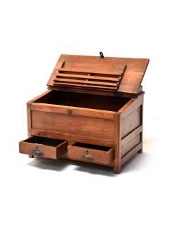 Starý Kupecký stolík z teakového dreva, šuplíky, 68x44x47cm