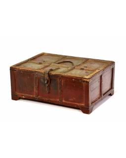 Stará truhlička - šperkovnica z antik dreva, šedozelená patina, 41x30x17cm