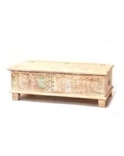 Drevená truhla z mangového dreva zdobená starými rezbami, 146x40x46cm