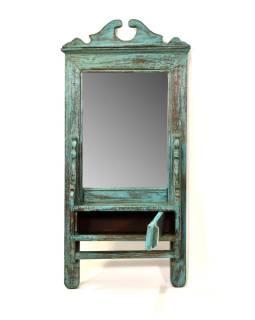 Zrkadlo s poličkou v ráme z teakového dreva, 33x11x70cm