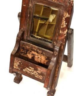 Zrkadlo s poličkou v ráme z teakového dreva, 22x11x53cm