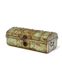 Plechový kufor, tyrkysový, 58x30x22cm