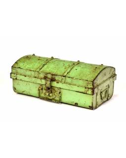 Plechový kufor, zelený, 50x28x20cm