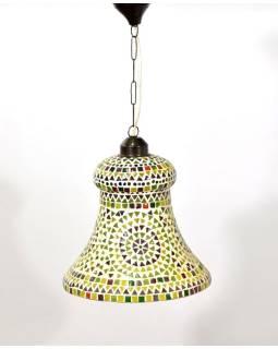 Sklenená mozaiková lampa, multifarebná, ručné práce, priem. 28cm, výs.30cm