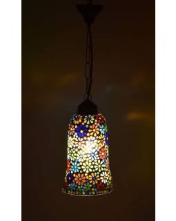 Otvorená sklenená mozaiková lampa, ručné práce, 15x30cm