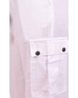 Biele unisex nohavice s vreckami, elastický pás