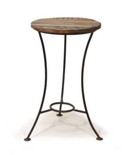 Stolička pod kyticu z teakového dreva, železné nohy, 38x38x63cm