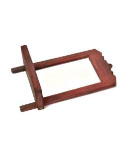 Zrkadlo s poličkou v ráme z teakového dreva, 27x9x41cm