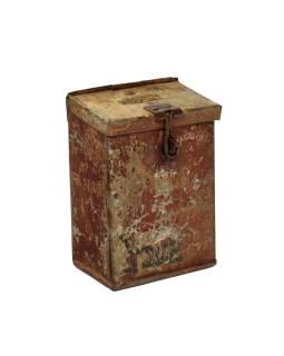 Antik plechová pokladnička, ručne maľovaná, 12x8x16cm