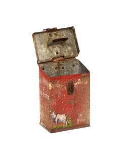 Antik plechová pokladnička, ručne maľovaná, 11x6x15cm