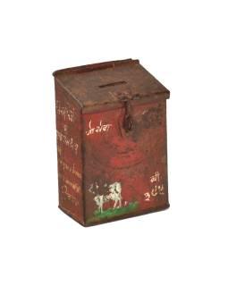 Antik plechová pokladnička, ručne maľovaná, 10x7x15cm