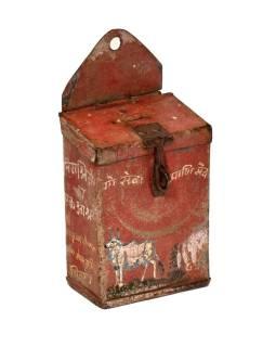 Antik plechová pokladnička, ručne maľovaná, 11x7x15cm