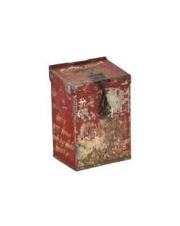 Antik plechová pokladnička, ručne maľovaná, 11x8x16cm