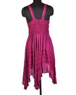 Krátke ružové šaty na ramienka, výšivka, drobný potlač kvetín