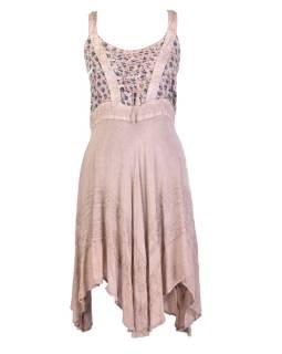 Krátke béžové šaty na ramienka, výšivka, drobný potlač kvetín