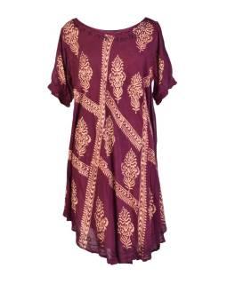 Krátke slivkovo fialové šaty s rukávom, výšivka, potlač