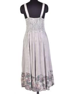 Dlhé šedé šaty na ramienka, výšivka a potlač farebných kvetov
