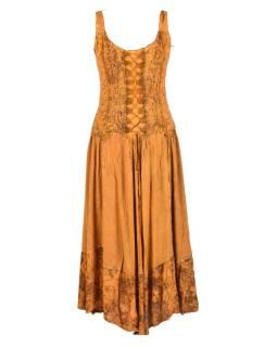 Dlhé zlatisto žlté šaty na ramienka, výšivka a predné viazanie
