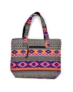 Veľká taška, farebná Aztec dizajn, 2 malé vnútorné vrecká, zips, 51x39cm, 29cm ucho