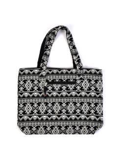 Veľká taška, čierno-biela Aztec dizajn, 2 malé vnútorné vrecká, zips, 51x39cm + 29cm