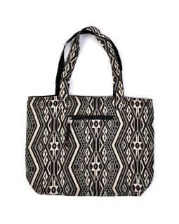 Veľká taška, čiernobiela Aztec dizajn, 2 malé vnútorné vrecká, zips, 51x39cm + 29cm