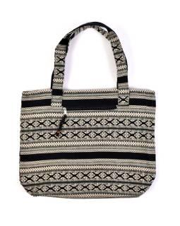 Veľká taška, čierno-béžová Aztec dizajn, 2 malé vnútorné vrecká, zips, 51x39cm + 29cm