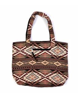 Veľká taška, hnedo-vínová Aztec dizajn, 2 malé vnútorné vrecká, zips, 51x39cm + 29cm