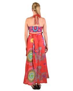 """Atypické zavinovacie šaty """"Mandala design"""" na ramienka, červené"""